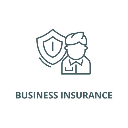 Business insurance line icon, vector. Business insurance outline sign, concept symbol, illustration