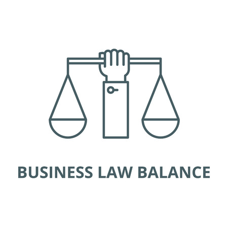 Business law balance line icon, vector. Business law balance outline sign, concept symbol, illustration Illustration