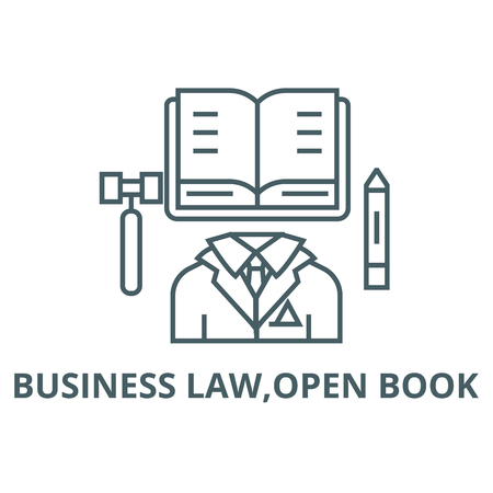 Business law,open book line icon, vector. Business law,open book outline sign, concept symbol, illustration