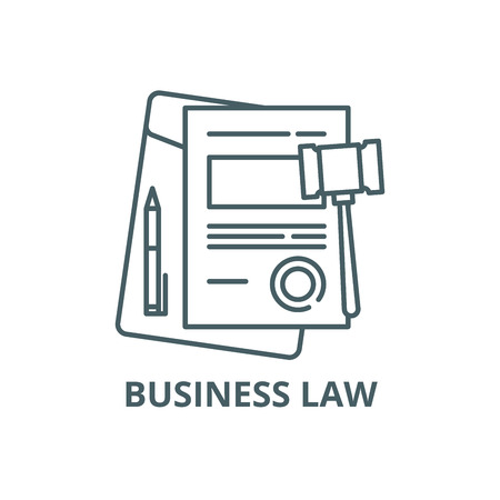 Business law line icon, vector. Business law outline sign, concept symbol, illustration