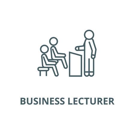 Business lecturer line icon, vector. Business lecturer outline sign, concept symbol, illustration