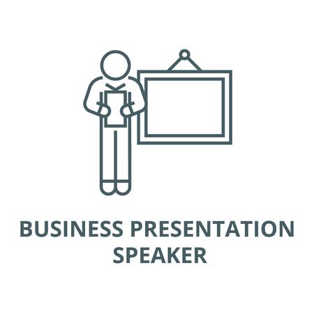 Business presentation speaker line icon, vector. Business presentation speaker outline sign, concept symbol, illustration