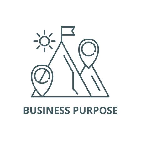 Icono de línea de propósito empresarial, vector. Signo de esquema de propósito comercial, símbolo conceptual, Ilustración