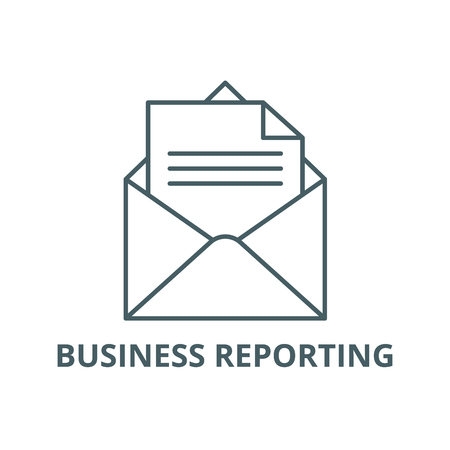 Business reporting line icon, vector. Business reporting outline sign, concept symbol, illustration