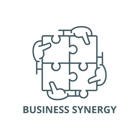 Business synergy line icon, vector. Business synergy outline sign, concept symbol, illustration