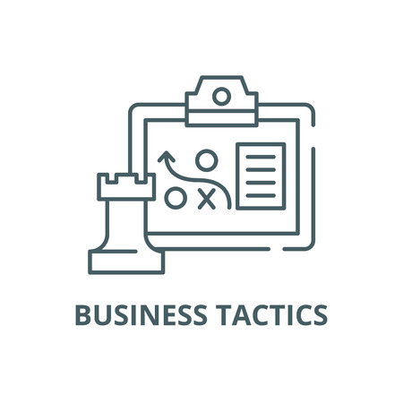 Business tactics line icon, vector. Business tactics outline sign, concept symbol, illustration