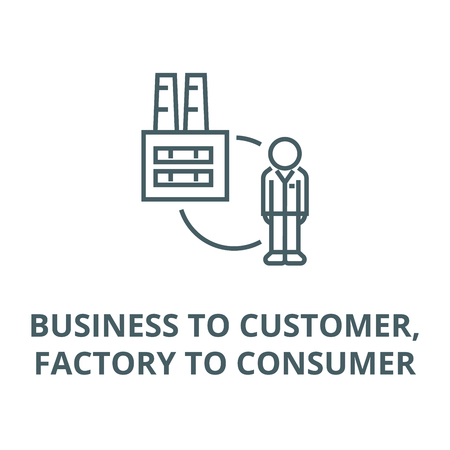 Business to customer,factory to consumer line icon, vector. Business to customer,factory to consumer outline sign, concept symbol, illustration