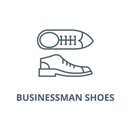 Businessman shoes line icon, vector. Businessman shoes outline sign, concept symbol, illustration