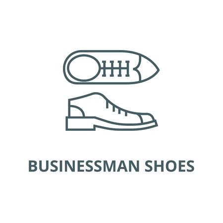 Businessman shoes line icon, vector. Businessman shoes outline sign, concept symbol, illustration