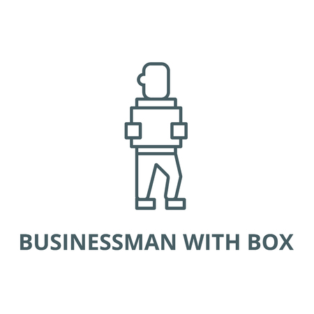 Businessman with box line icon, vector. Businessman with box outline sign, concept symbol, illustration Stockfoto - 123749528