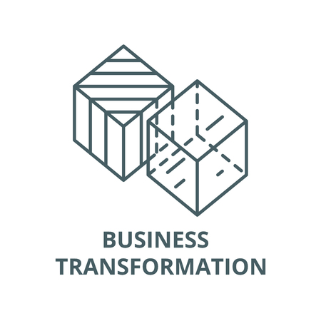 Business transformation line icon, vector. Business transformation outline sign, concept symbol, illustration
