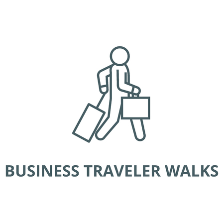 Business traveler walks line icon, vector. Business traveler walks outline sign, concept symbol, illustration