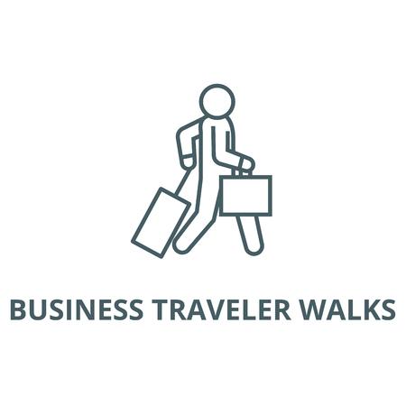 Viajero de negocios camina icono de línea, vector. Viajero de negocios camina signo de contorno, símbolo conceptual, Ilustración Ilustración de vector