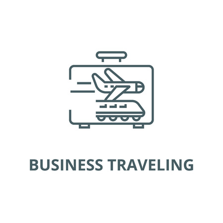 Business traveling line icon, vector. Business traveling outline sign, concept symbol, illustration