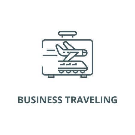 Business traveling line icon, vector. Business traveling outline sign, concept symbol, illustration
