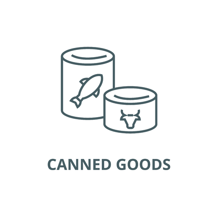 Canned goods line icon, vector. Canned goods outline sign, concept symbol, illustration