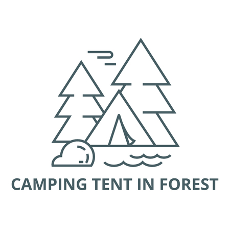 Camping tent in forest line icon, vector. Camping tent in forest outline sign, concept symbol, illustration Illustration