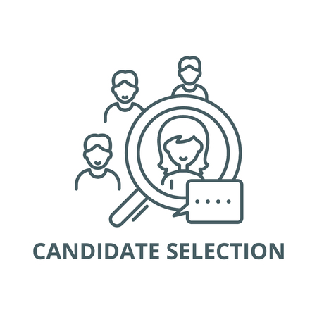 Candidate selection line icon, vector. Candidate selection outline sign, concept symbol, illustration