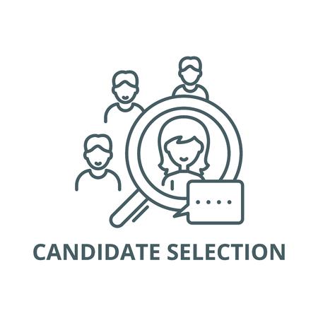 Ikona linii wyboru kandydata, wektor. Znak konspektu wyboru kandydata, symbol koncepcji, ilustracja