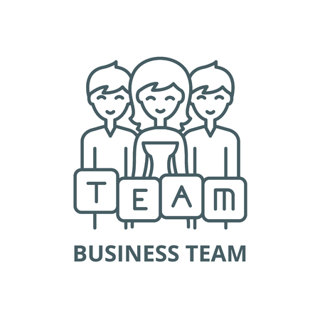 Business team line icon, vector. Business team outline sign, concept symbol, illustration