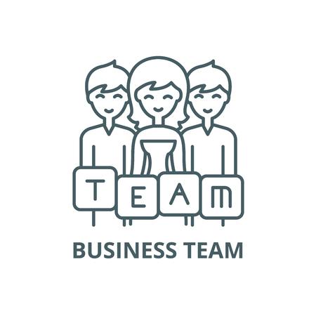 Business team line icon, vector. Business team outline sign, concept symbol, illustration