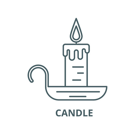 Candle line icon, vector. Candle outline sign, concept symbol, illustration