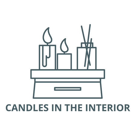 Candles in the interior line icon, vector. Candles in the interior outline sign, concept symbol, illustration