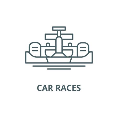 Car races line icon, vector. Car races outline sign, concept symbol, illustration