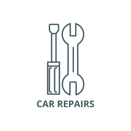 Car repairs line icon, vector. Car repairs outline sign, concept symbol, illustration