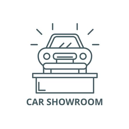 Car showroom line icon, vector. Car showroom outline sign, concept symbol, illustration