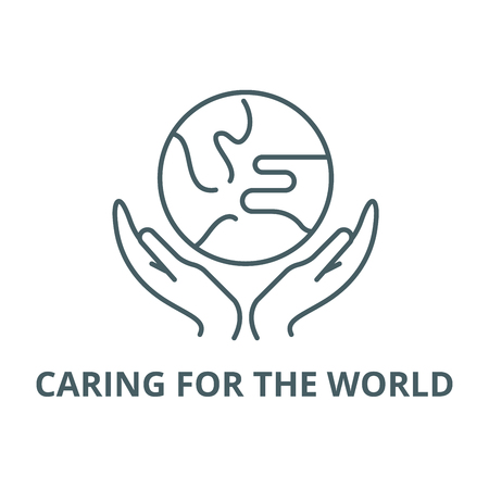 Caring for the world line icon, vector. Caring for the world outline sign, concept symbol, illustration Иллюстрация