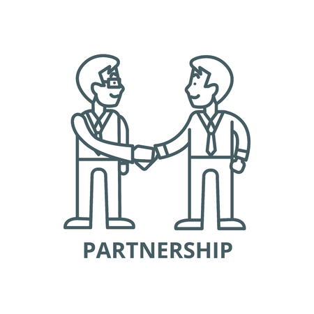 Businessmen handshake,partnership line icon, vector. Businessmen handshake,partnership outline sign, concept symbol, illustration Standard-Bild - 123749556