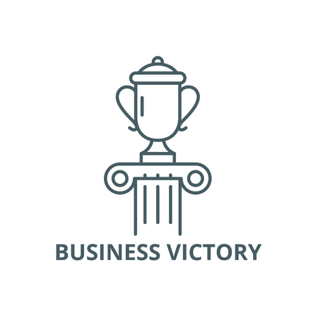 Business victory line icon, vector. Business victory outline sign, concept symbol, illustration