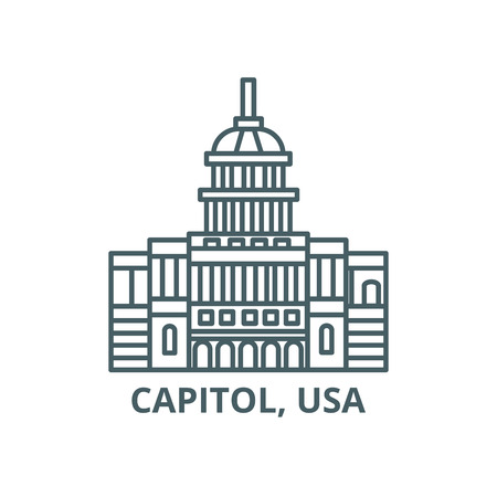 Capitol, usa line icon, vector. Capitol, usa outline sign, concept symbol, illustration Çizim