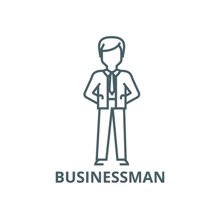 Businessman with hands back line icon, vector. Businessman with hands back outline sign, concept symbol, illustration