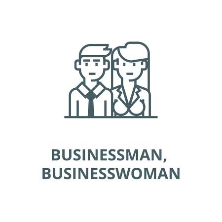 Businessman, businesswoman,managers line icon, vector. Businessman, businesswoman,managers outline sign, concept symbol, illustration