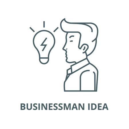 Businessman, side view, close up, line icon, vector. Businessman, side view, close up, outline sign, concept symbol, illustration