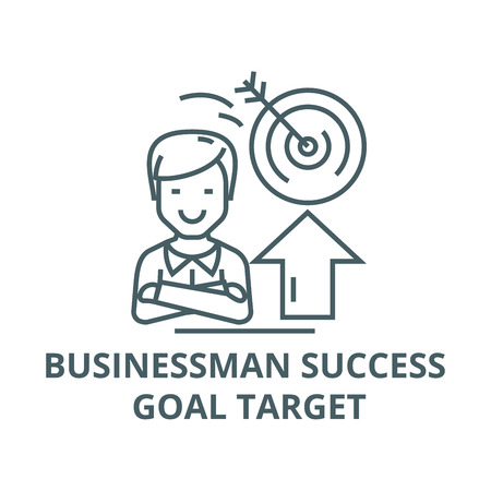 Businessman,success,goal target line icon, vector. Businessman,success,goal target outline sign, concept symbol, illustration 向量圖像