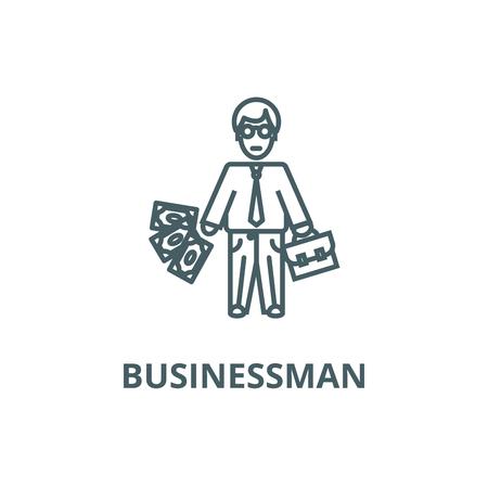 Businessman line icon, vector. Businessman outline sign, concept symbol, illustration Çizim
