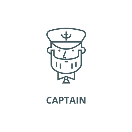 Captain with nautical hat line icon, vector. Captain with nautical hat outline sign, concept symbol, illustration