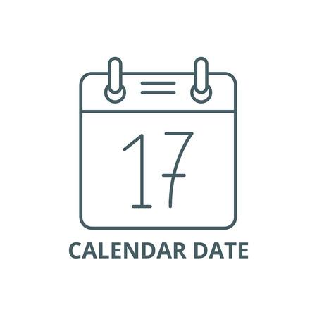 Calendar date line icon, vector. Calendar date outline sign, concept symbol, illustration