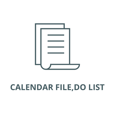 Calendar file,do list line icon, vector. Calendar file,do list outline sign, concept symbol, illustration Иллюстрация