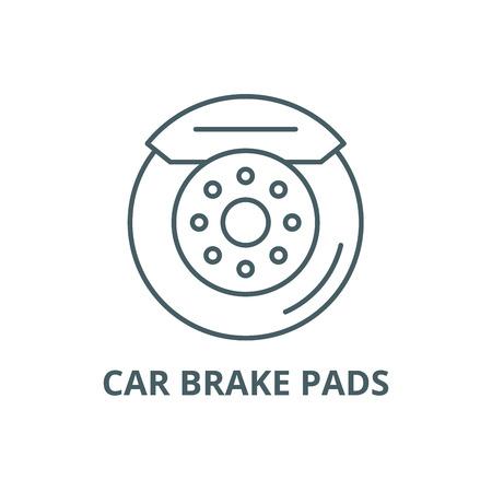 Icône de ligne de plaquettes de frein de voiture, vecteur. Plaquettes de frein de voiture contours signe, symbole de concept, illustration