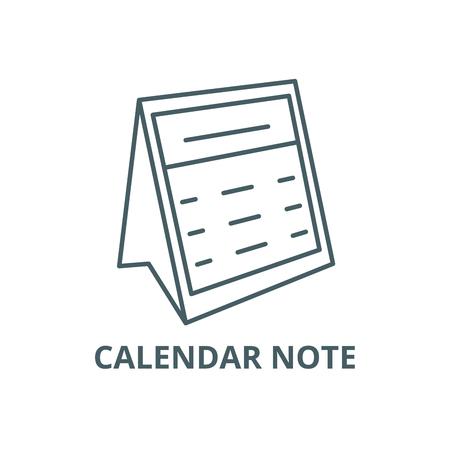 Calendar note line icon, vector. Calendar note outline sign, concept symbol, illustration