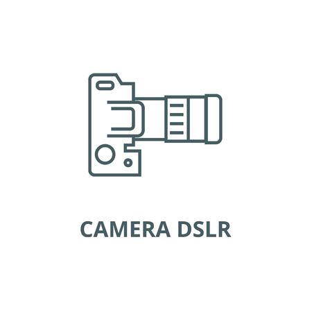 Camera dslr, top view line icon, vector. Camera dslr, top view outline sign, concept symbol, illustration