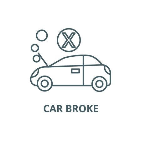 Car broke line icon, vector. Car broke outline sign, concept symbol, illustration