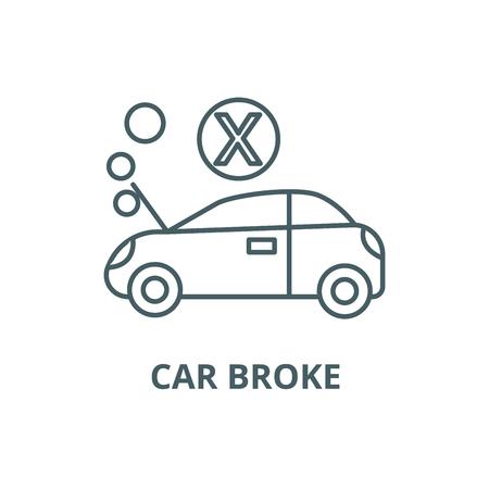 Car broke line icon, vector. Car broke outline sign, concept symbol, illustration