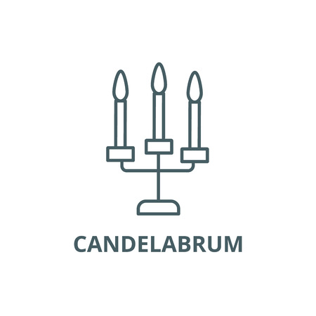 Candles with three candelabrum line icon, vector. Candles with three candelabrum outline sign, concept symbol, illustration Banque d'images - 123749592