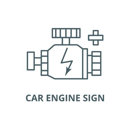 Car engine sign line icon, vector. Car engine sign outline sign, concept symbol, illustration