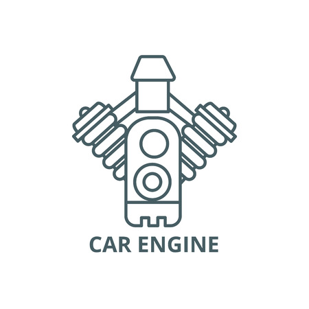 Car engine line icon, vector. Car engine outline sign, concept symbol, illustration